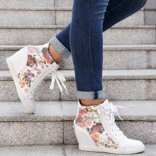 Sneakers con zeppa a fiori