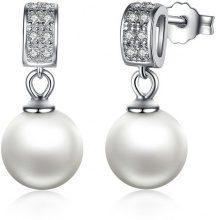Orecchini in argento 925 con perla & zirconi