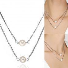 Collana doppia con perle sintetiche