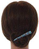 Vintage Fiore in cristalli blu, filigrana becco capelli clip/Concord clip in argento antico tono–85mm l