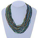 Collana multifilare con perla di vetro azzurra/oro/verde e chiusura quadrata di legno –64cm l.
