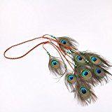 Handmade Boho Chic fascia piume di pavone, pavone piuma testa catena, lunghezza regolabile