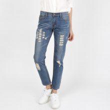 Skinny jeans alla caviglia con dettagli used look