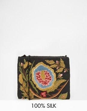 Moyna - Borsa a tracolla nera con perline e ricami floreali