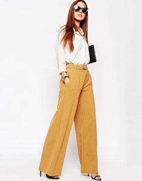 ASOS - Pantaloni con fondo ampio e cintura