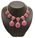 Bedazzled-Collana etnica, colore: oro, con cristalli, in confezione regalo, colore: fucsia