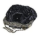 Liying® Vintage Bronzo setose satinato a mano frizione sposa perline floreale ricamato Shell Borsa Borsa A Tracolla Con Catena