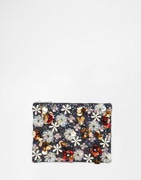 ASOS Co-ord - Pochette con decorazione floreale di paillettes