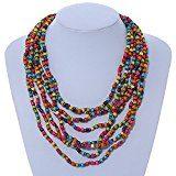 Multicolore, collana di perline in legno multistrato multstrand–64cm L/5cm Ext