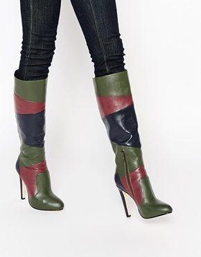 ASOS - COLLECTIVE - Stivali al ginocchio effetto patchwork