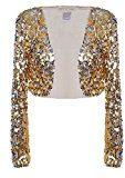 Anna-Kaci donna lustrino manica lunga Glitter Paillettes Bolero Blazers Shrugs Cropped Giacche cappotto Giacca