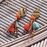 eManco Etnico Ciondola gli Orecchini Lunghi Degli Orecchini Francesi Multicolori del Pendente di Cristallo&Nappa per le Donne e le Ragazze Gioielli di Modo