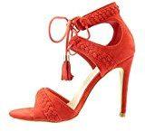 Angkorly - Scarpe da Moda sandali scarpe decollete stiletto aperto donna intrecciato pon pon frange Tacco Stiletto tacco alto 11 CM - Rosso
