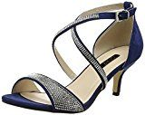 Quiz - Diamante Faux Suede Low Heel Sandals, Scarpe spuntate Donna