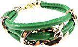 Glamour Girlz & da donna, in pelle, bracciale in metallo, colore: verde smeraldo