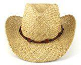Cappello da cowboy in paglia naturale con legno fascia Summer Sun