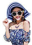 LA HAUTE-Cappello da sole a strisce, alla moda, cappello di paglia, tesa larga Cappello da spiaggia