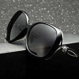 Da donna occhiali da sole grande cornice protezione UV400occhiali Vintage, colore: nero