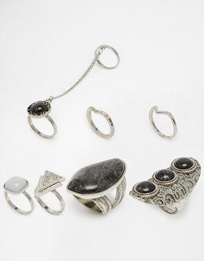 New Look - Confezione multipack di anelli bohémien