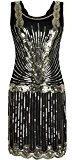 PrettyGuide Donne 1920 Vintage Art Deco Paillettes Ispirato Gatsby Vestito Con le Frange