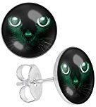 LilMents Orecchini a bottone, con immagine di gatto nero, in acciaio inossidabile, unisex, risplendono nell'oscurità