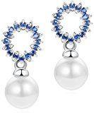 Orecchini Donna, shell perla e zirconia cubica (blu)