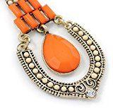 Vintage con perline In acrilico, colore: Arancio/Panna Orecchini Chandelier In oro, tonalità anticata In metallo, 80 L