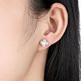 Wostu 15% Pasqua vendita donne perla orecchini a lobo in argento Sterling con zirconi orecchino set regalo di compleanno