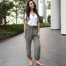 Pantaloni a vita alta in felpa con fascia ampia