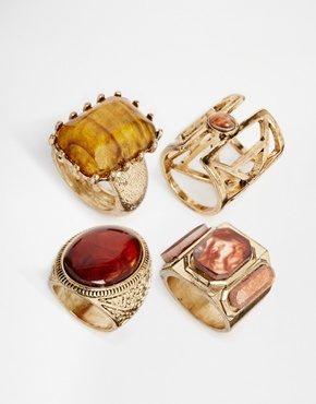 New Look - Confezione multipla di anelli con pietre stile anni '70