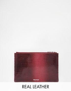 Whistles - Pochette di pelle effetto lucertola color bordeaux sfumato