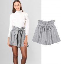 Shorts mélange con cinta plissettata