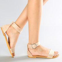 Sandali con cinturino alla caviglia in similpelle scamosciata
