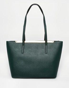 ALDO - Piccola borsa shoppin verde bosco con barra in metallo