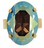 Anello in oro con cristalli di Swarovski®–VERDE Giallo Blu–regolabile