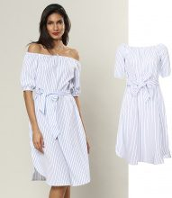 Abito off-shoulder con cintura