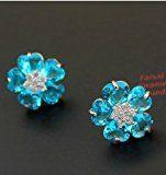 Placcato oro bianco 18K Gp fiori Stud Eearring con cristalli Swarovski acquamarina blu