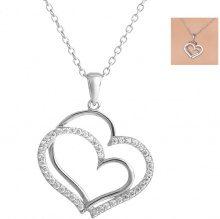 Collana in argento 925 con 2 ciondoli a cuore