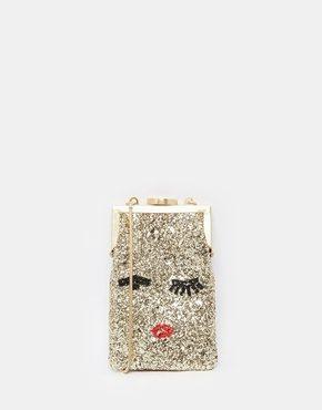 Lulu Guinness - Ellie - Borsa a tracolla glitterata con volto
