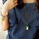 LUXURY - Collana pendente da donna modello MELA MORSICATA di colore verde con catenina e ciondolo. Idea regalo per San Valentino, Natale e Festa della Mamma.