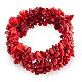 Bling Jewelry Tessuto del corallo rosso della pietra preziosa Chips Chunky Stretch Bracelet