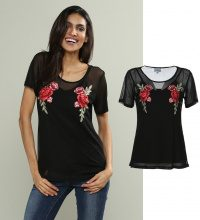Set di t-shirt & top con toppe a rose 2 pz.