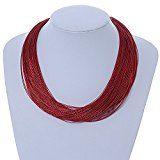 Collana in argento con multi filo di seta rosso scuro–40cm L