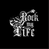 Maglietta musica ROCK MY LIFE T-shirt donna nera con stampa chitarra acustica