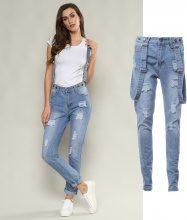 Jeans con bretelle rimovibili