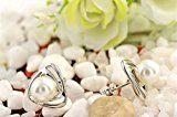 GWG® Orecchini Lobo Donna Placcati Argento Sterling Originale Design Triangolare con Perla Colorata