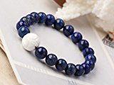 Elegant TreasureBay 8 mm IP44 Lapis lázuli Gemstone Bracciale con omino elastico che sorride con bianco Cover di loto dettagli dei conti