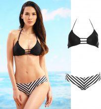 Bikini con slip a righe