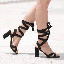 Sandali con tacco quadrato & fascette incrociate