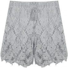 Shorts con tessuto crochet floreale
